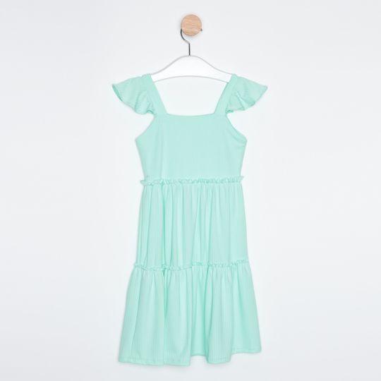 Vestido Midi Infantil Babados Azul Claro