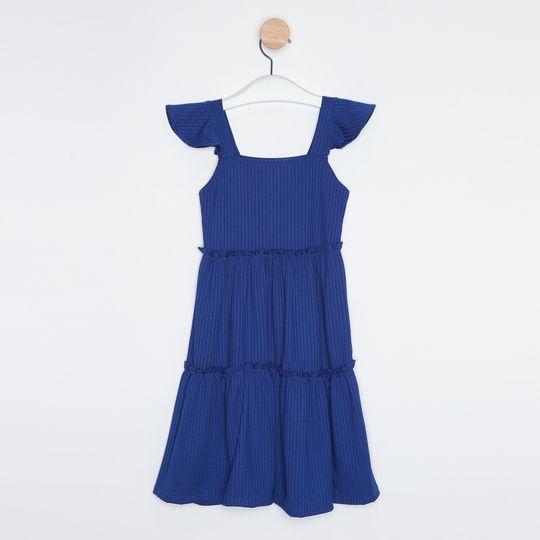 Vestido Midi Infantil Babados Azul Royal