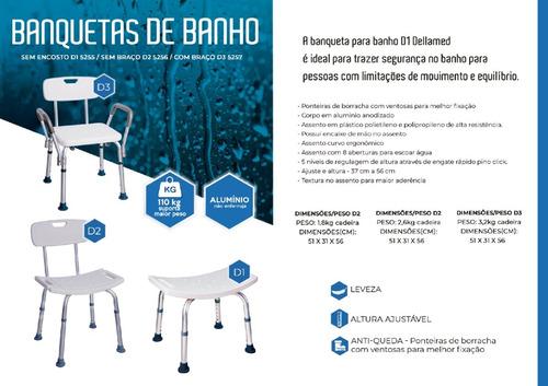 Banqueta Banho c/ Encosto e Apoio Braços Dellamed
