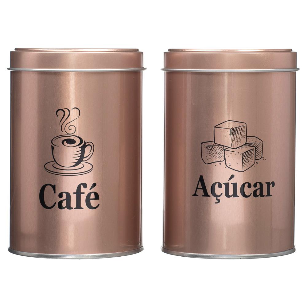 2 Latas Porta Café E Açúcar Coffee Cozinha Decora Metal Rosê