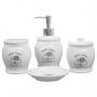 Jogo De Banheiro Lavabo Porta Sabonete Líquido Algodão KB-342