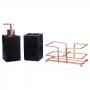 Kit Banheiro Porta Sabonete Líquido + Porta Escova + Suporte Rose Gold / KB-478