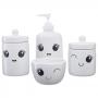 Kit Higiene Bebê Infantil Porta Algodão Banheiro 4 Peças 308