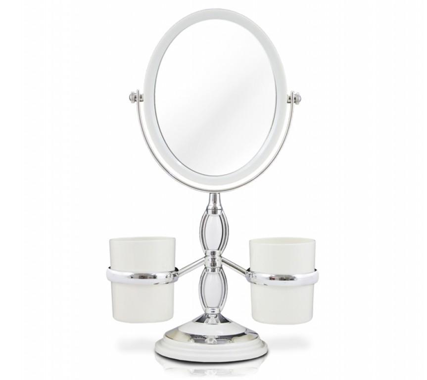 Espelho De Mesa P/ Maquiagem C/ Porta Pincel 2 Lados 3x Zoom
