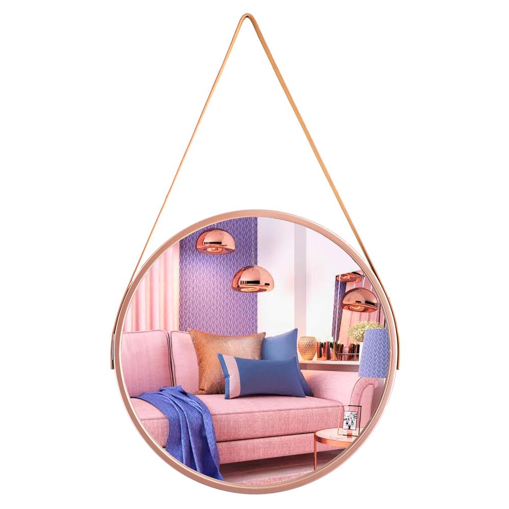 Espelho Grande De Parede Alça Couro Decoração De Ambiente 45 cm / ES-905