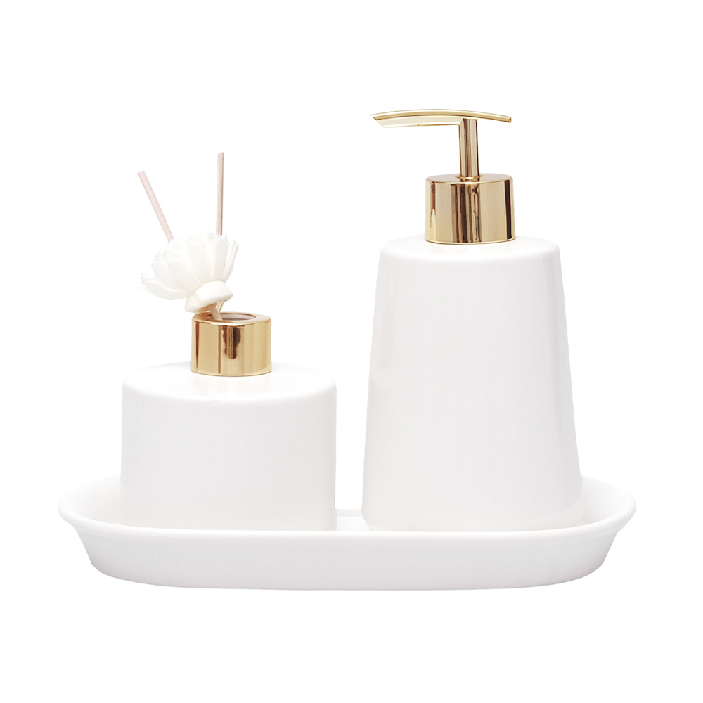 Jogo Banheiro Lavabo Porcelana Aromatizador Difusor Bandeja / Kb-801