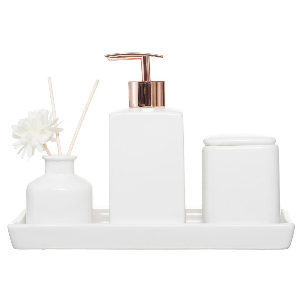 Jogo Banheiro Lavabo Porcelana Bandeja Aromatizador Difusor / Kb-805