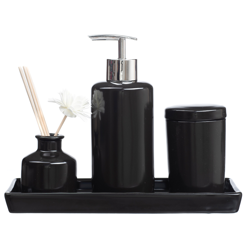 Jogo Banheiro Lavabo Porcelana Bandeja Difusor / Kb-803