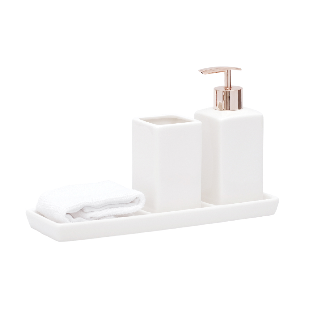 Jogo Banheiro Lavabo Porcelana Bandeja Mini Toalha / Kb-802