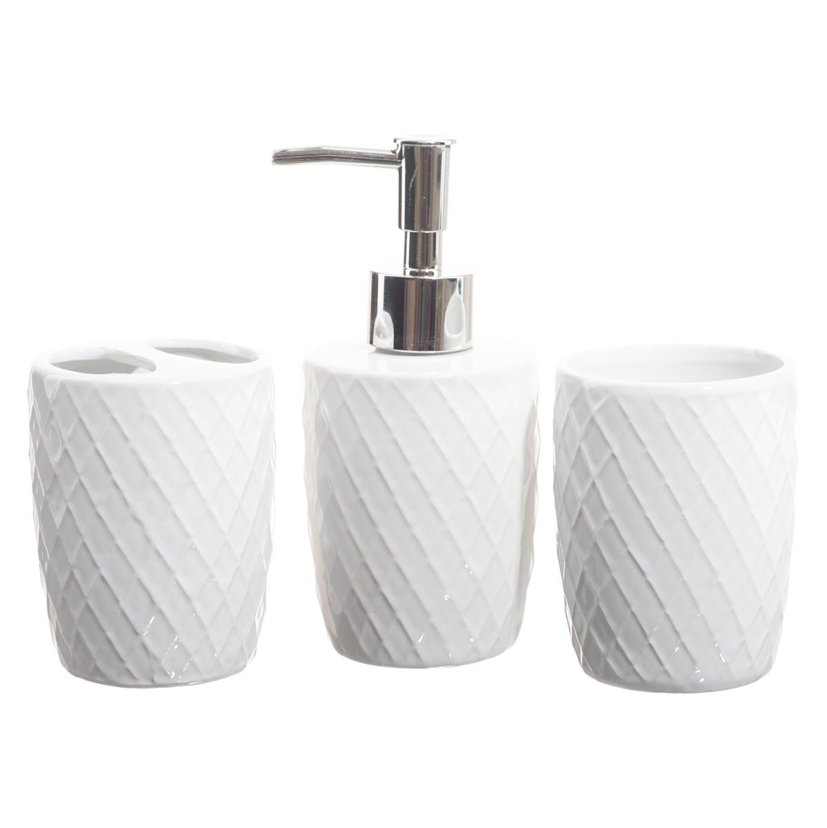 Kit Banheiro Lavabo Conjunto Acessórios 3 Peças = Branco