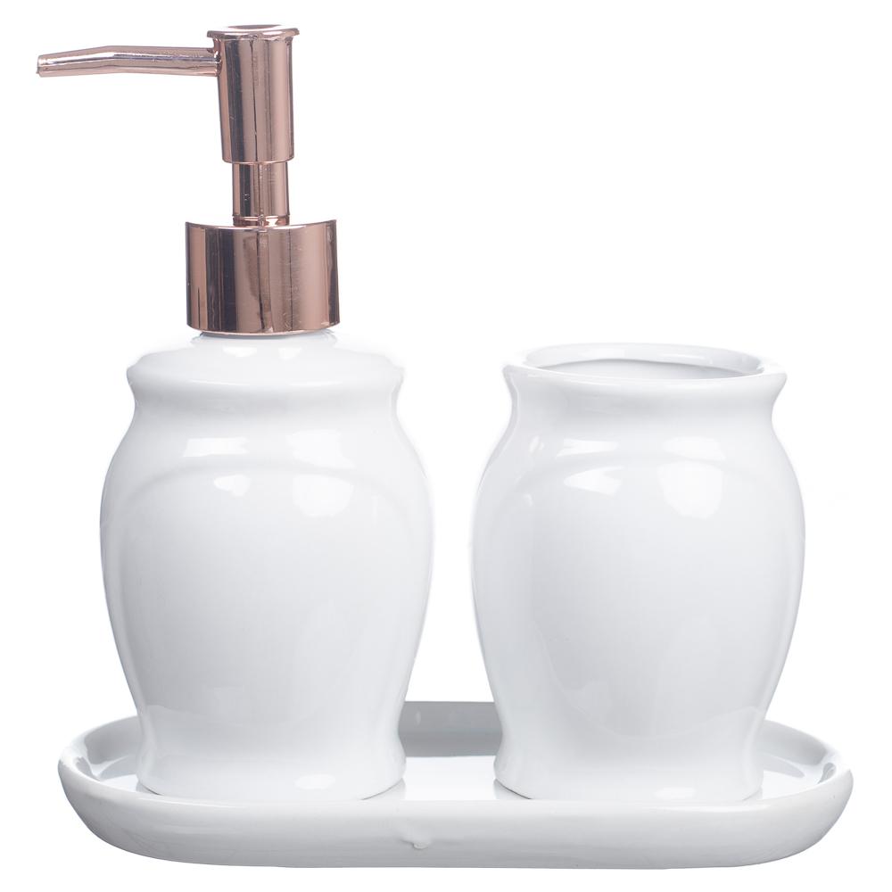 Kit Banheiro Lavabo Conjunto + Bandeja 3 Peças Branco Rosê