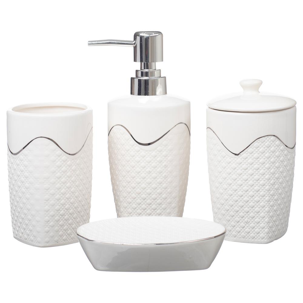 Kit Banheiro Lavabo Conjunto Porta Sabonete Líquida Luxury