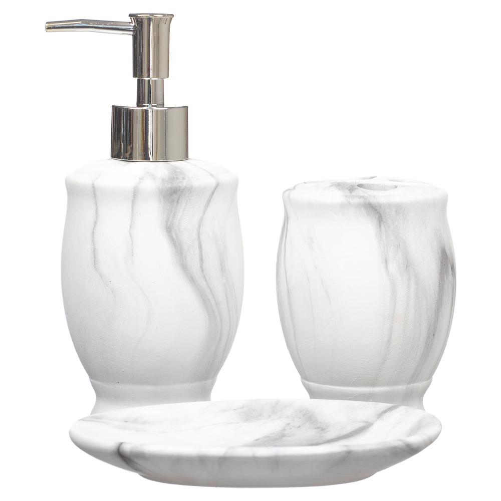 Kit Banheiro Lavabo Porta Sabonete Líquido Marmorizado 092