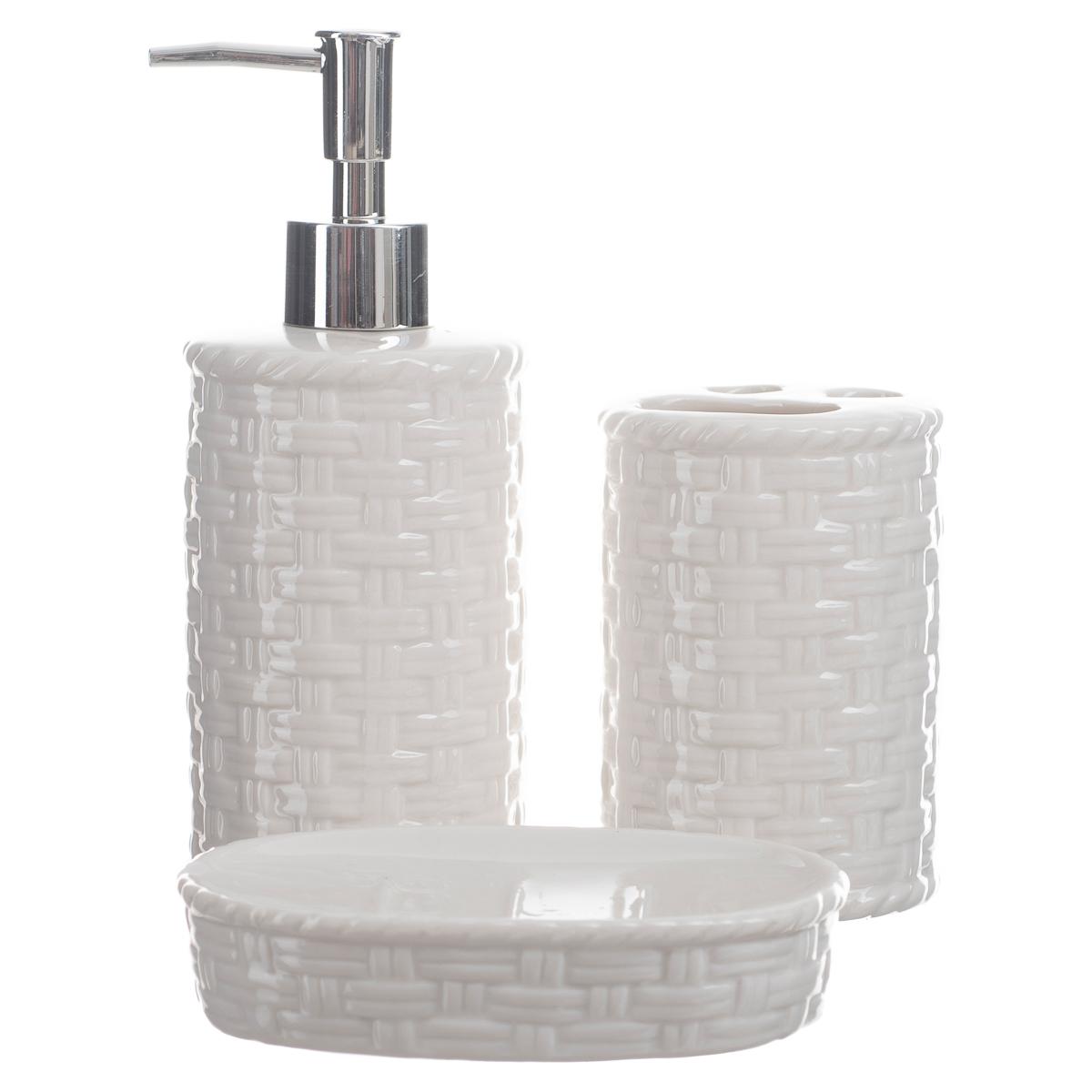 Kit Banheiro Lavabo Conjunto Porta Sabonete Líquido Trançado / KB-030