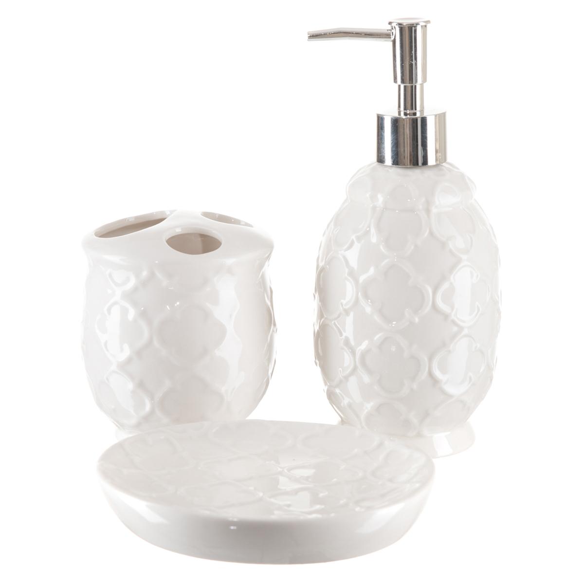 Kit Banheiro Lavabo Dispenser Sabonete Líquido 3 Peças / KB-060