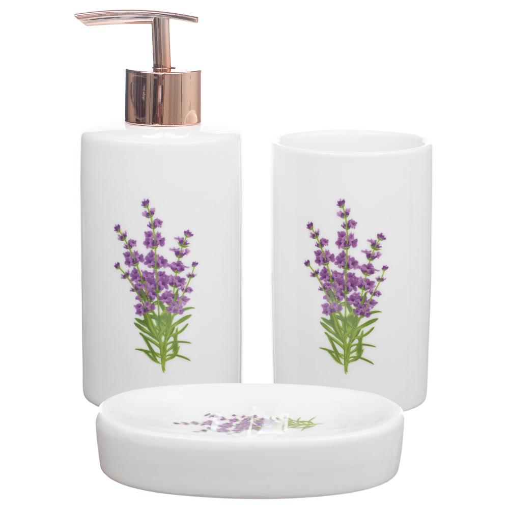 Kit Banheiro Lavabo Dispenser Sabonete Líquido Escova KB-475