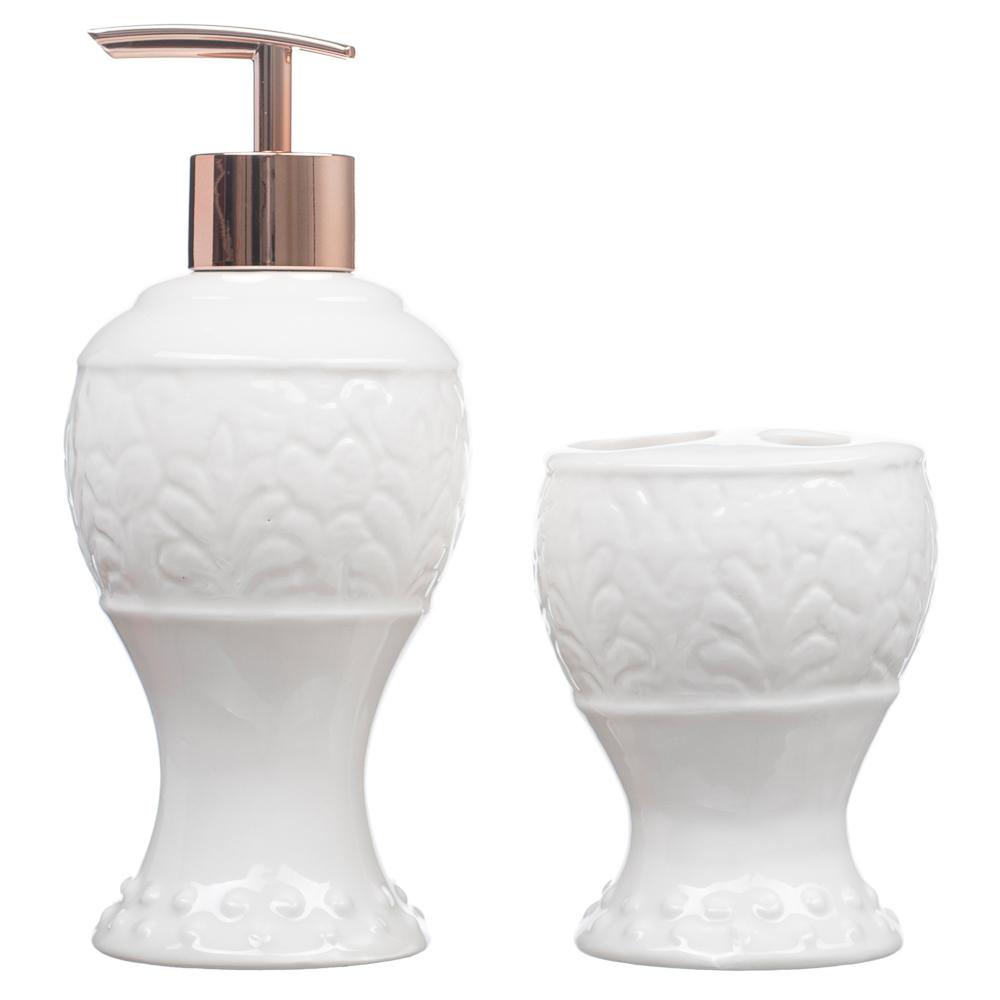 Kit Banheiro Lavabo Porta Sabonete Líquido 2 Peças/ Rosê 012