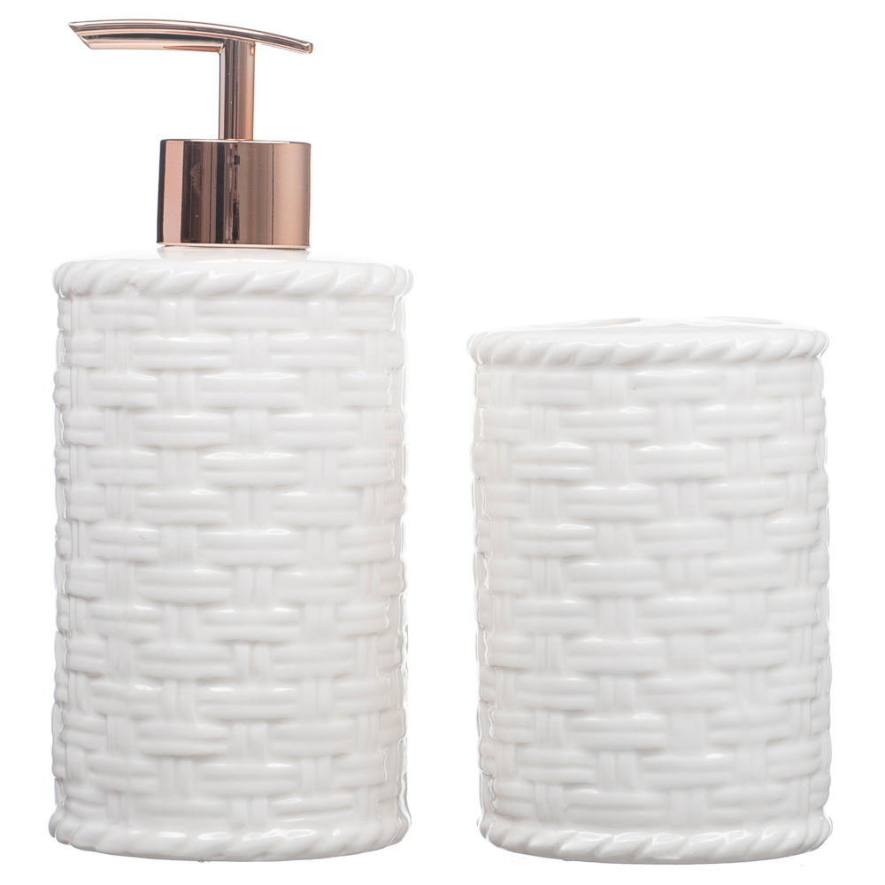 Kit Banheiro Lavabo Porta Sabonete Líquido 2 Peças/ Rosê 013