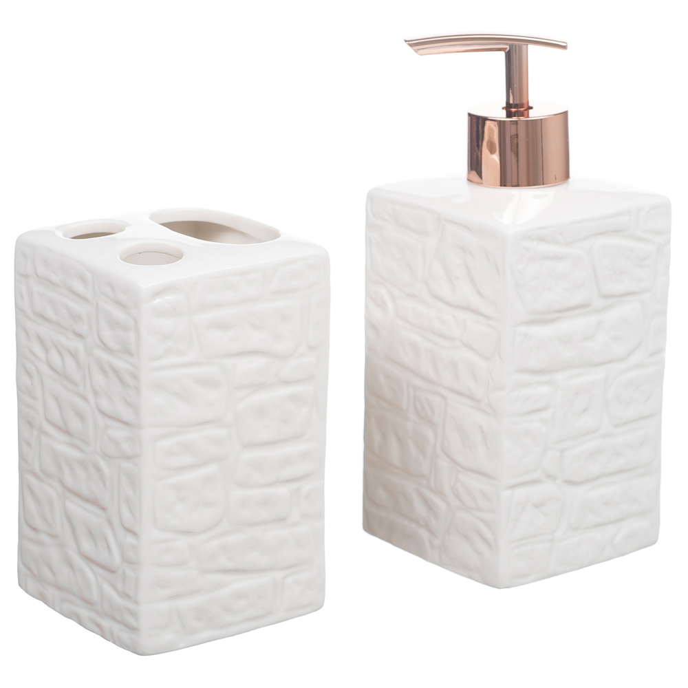 Kit Banheiro Lavabo Porta Sabonete Líquido 2 Peças/ Rosê 014