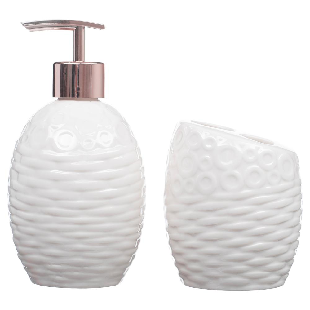 Kit Banheiro Lavabo Porta Sabonete Líquido 2 Peças/ Rosê 070