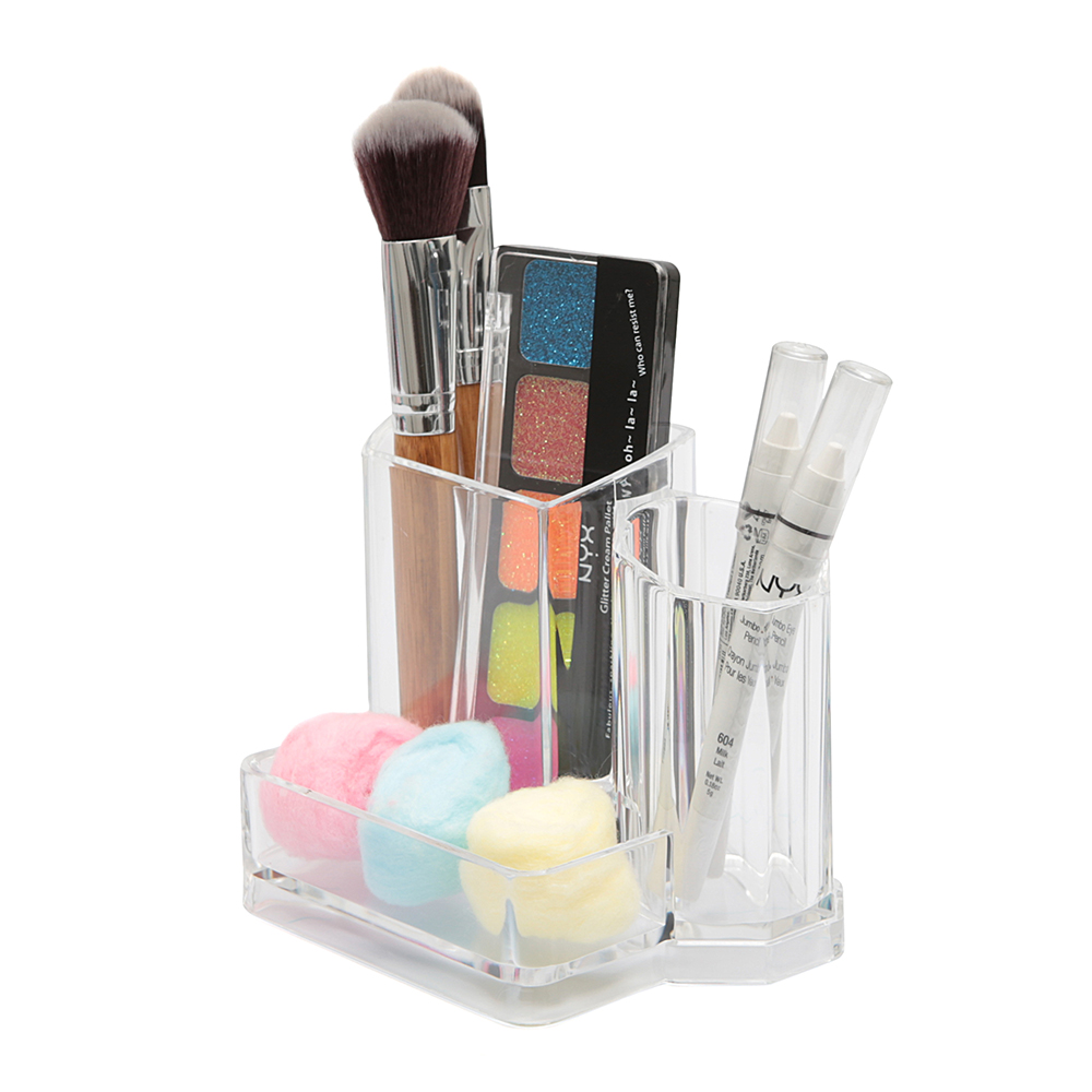 Porta Píncel Organizador Maquiagem Em Acrílico 3 Divisórias / PP-303