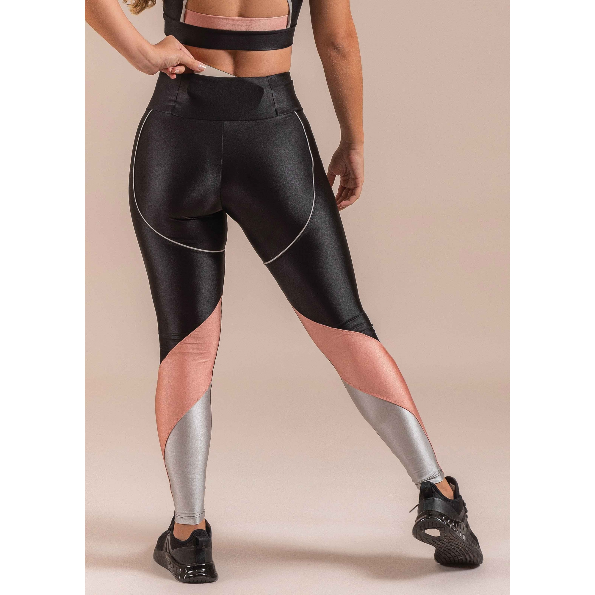 Legging Sport Cirre Tricolor E Bolso