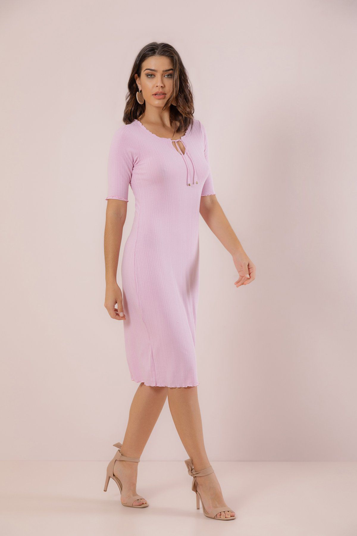 Vestido Midi New Canelado Tracy