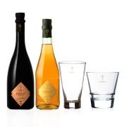 1 Garrafa de  Aureah Vermute Rosé  660ml e 1 Garrafa de Aureah Rossa com 2 copos de vidro