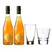 2 garrafas de Aureah Vermute Rosé  660ml com 2 copos de vidro