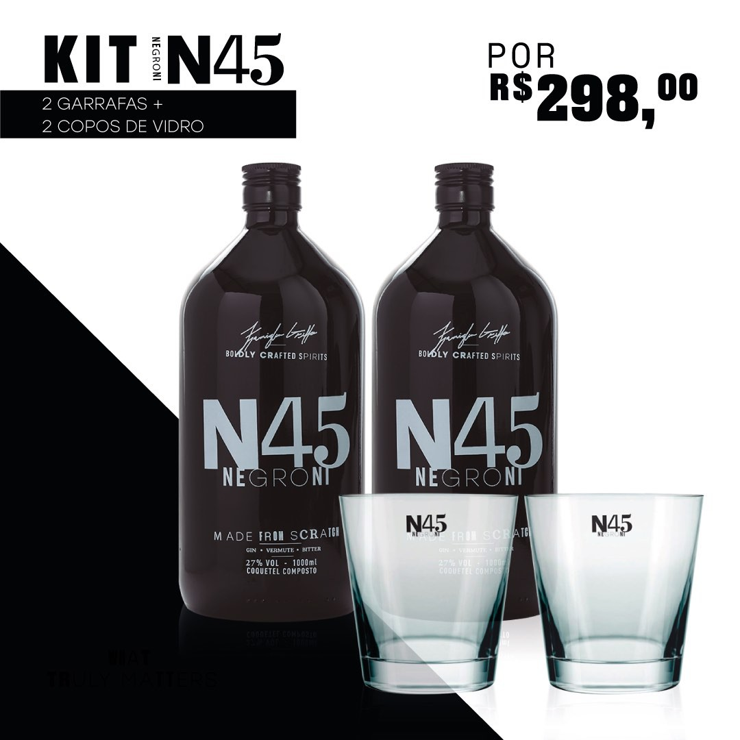 2 Garrafas N45 Negroni + 2 COPOS