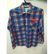 Camisa Caipira Adulto - Flanela Azul / Vermelho