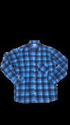 Camisa Caipira Adulto - Flanela Azul / Pontos vermelhos