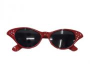 Óculos Gatinha Anos 60 - Preto Vermelho Branco