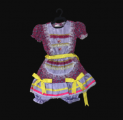 Vestido Caipira Infantil Feminino -Rosa com laços amarelos
