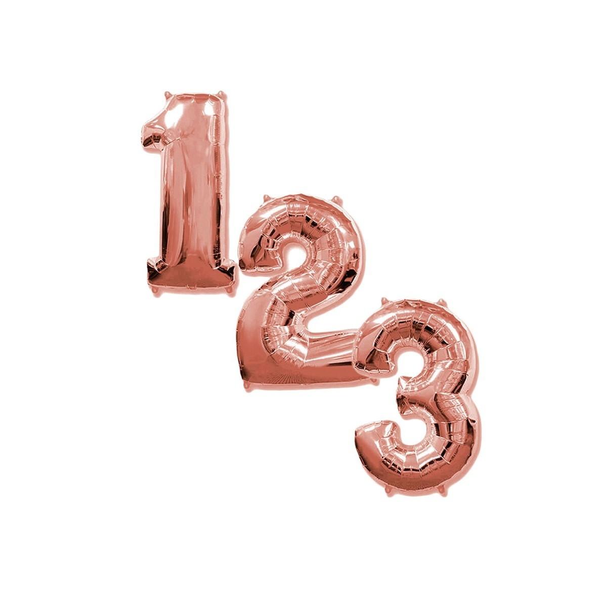 Balão de Número Dourado ou Rosê - 40cm