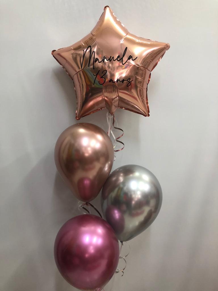 Balão Estrela Personalizada com gás (sob encomenda)