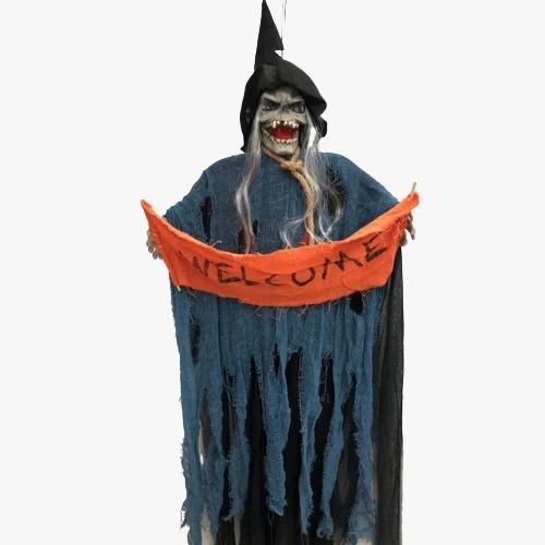 Bruxa Decoração Halloween Boneco com Som de Terror e Luz
