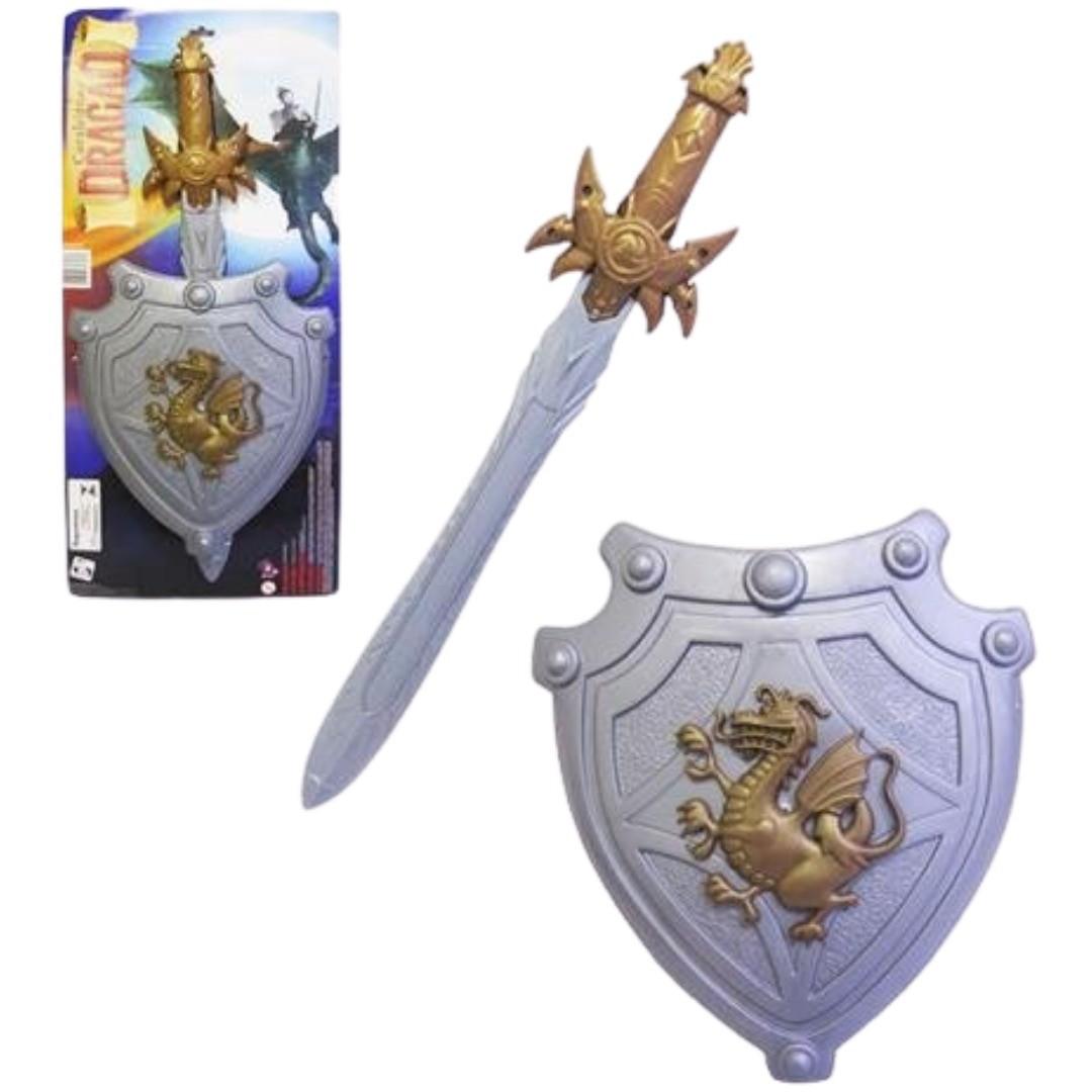 Escudo com Espada Kit Gladiador Soldado Medieval