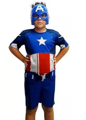 Fantasia Capitão América Infantil - Curto