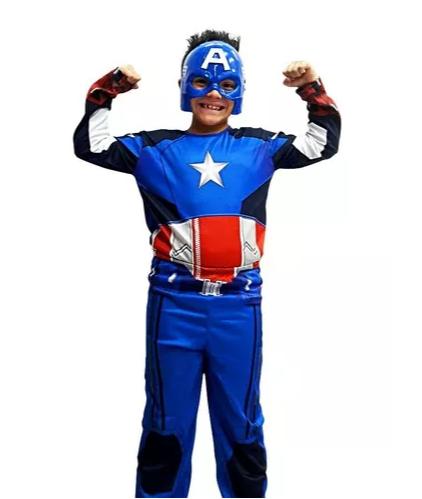 Fantasia Capitão América Infantil - Longo