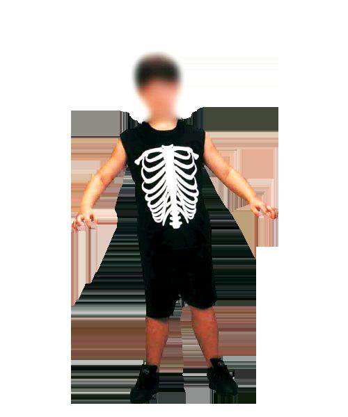 Fantasia Esqueleto Caveira Infantil - Curto
