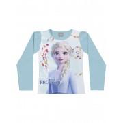 Blusa infantil feminina manga longa da Princesa Elsa - Frozen azul