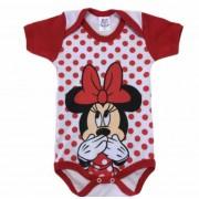 Body infantil divertido para bebê da Minnie vermelho e rosa