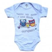 Body infantil divertido para bebê Dindo e Dinda