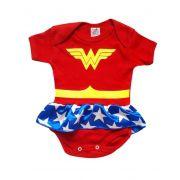 Body infantil divertido para bebê Mulher Maravilha
