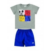 Conjunto infantil de bebê menino camiseta e bermuda Mickey Pateta Pluto Donald - Marlan