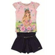 Conjunto infantil feminino de verão floral Blusa e shorts Milli & Nina