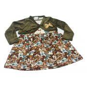 Vestido infantil borboletas com bolero Brandili