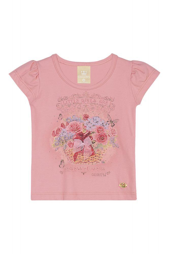 Blusa infantil feminina com strass para bebê Coloritta