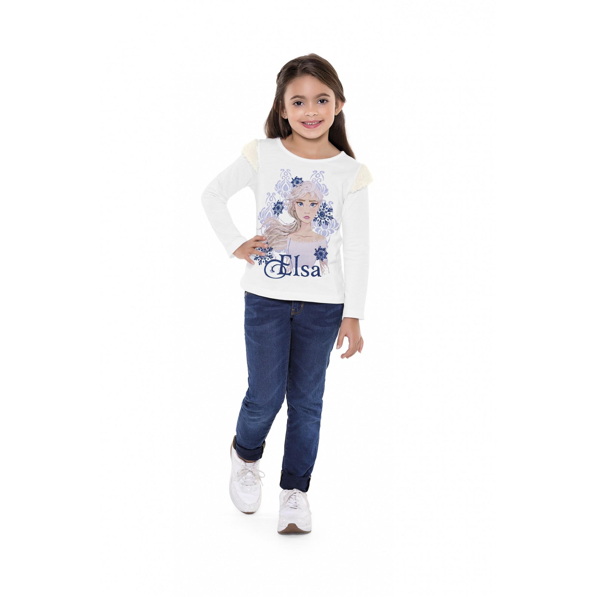 Blusa infantil feminina manga longa da Princesa Elsa - Frozen